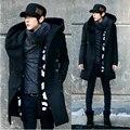 2017 Moda Barata Mens Casaco de Ervilha Com Capuz Duplo Breasted Trench Coat de Lã longo Sobretudo Os Homens, Cinza Azul Marinho Preto, Plus Size 3XL