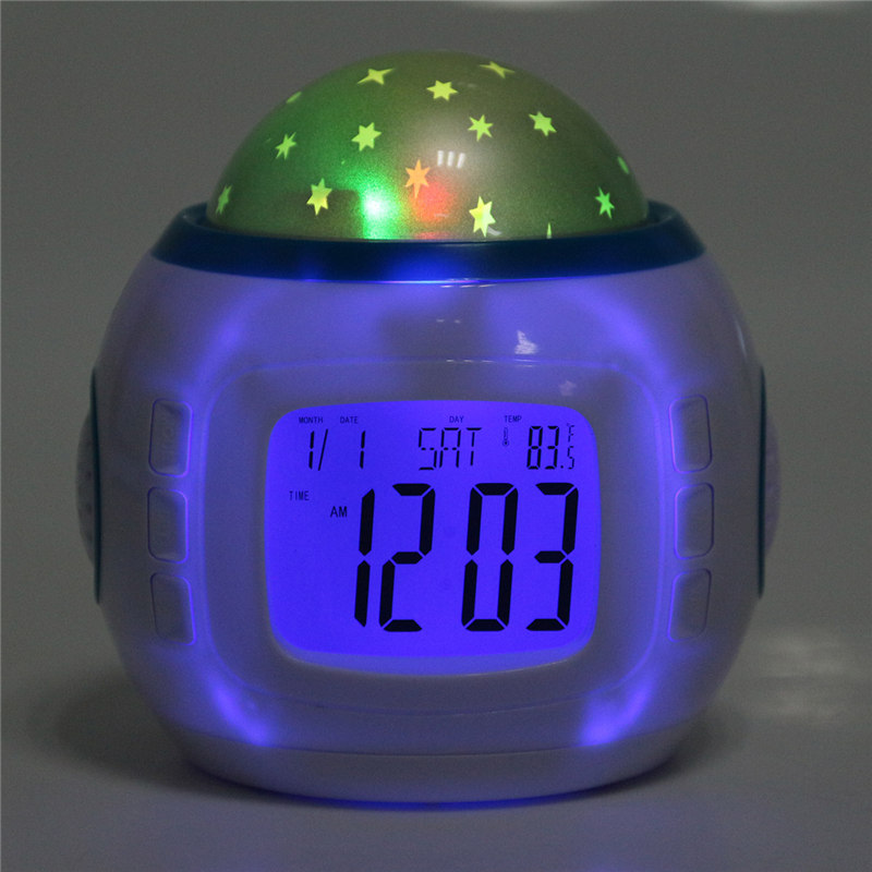 Fshion Star Starry Sky Electronic Led Digital Projection Alarm Clock With Music Light Home Party Decoration Children Kids Gifts
