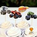 24 pcs máquinas de Incêndio e o monstro barra de chocolate cupcake toppers escolher suprimentos crianças festa de aniversário do chuveiro de bebê