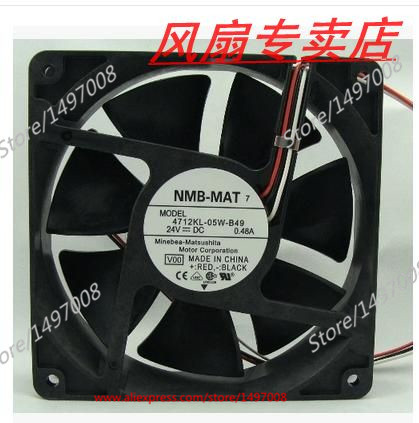 NMB-MAT 4712KL-05W-B49, V00 DC 24V 0.48A, 120x120x32mm Server Square fan nidec d12f 24bs4 16bh2 dc 24v 0 70a 120x120x32mm server square fan