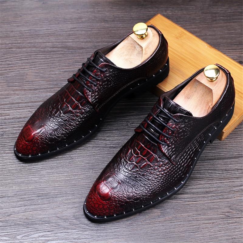 Men's Crocodile Dress Leather Shoes Lace-Up Wedding Party Shoes Mens Business Office Oxfords Flats Plus Size Men Fashion