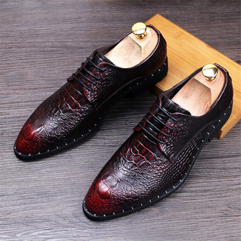 Men's Crocodile Dress Leather Shoes Lace-Up Wedding