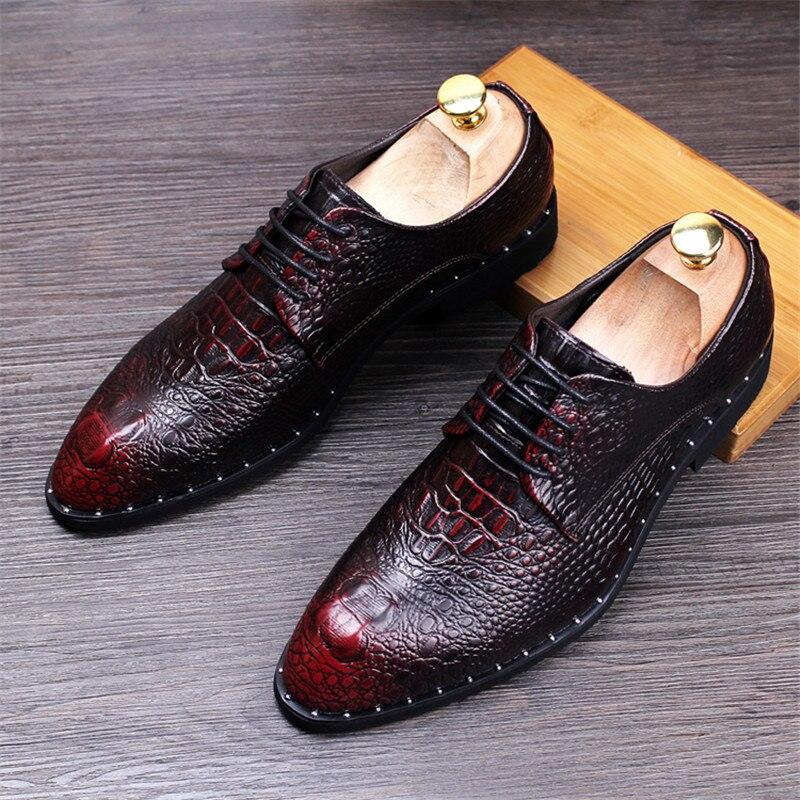 Zapatos de piel de cocodrilo para hombre, zapatos de fiesta de boda con cordones, zapatos Oxford de oficina para hombre, zapatos planos de talla grande, moda para hombre