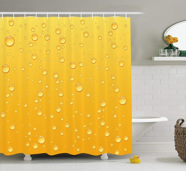 Shower Curtain Yellow Ombre Background Like Beer In A Glass With Water Drops Graphic Art Prints Fabric Bathroom Decor