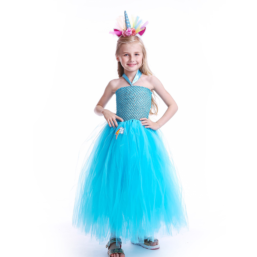 Fluffy Rainbow Dash Girls Tutu Dress with Headband Princess Kids Pony Birthday Party Tutu Dress Girl Halloween Carnival Costume (12)