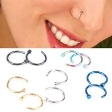 New hot 1 Pair Fashion Style Medical Hoop Nose Rings Clip On Ring Body Fake Piercing Jewelry For Women