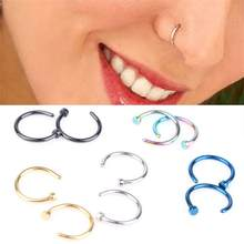 New hot 1 Pair Fashion Style Medical Hoop Nose Rings Clip On Nose Ring Body Fake Piercing Piercing Jewelry For Women(China)