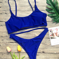 Beach Bikini Set solid Blue Swimsuit tankini Sexy Swimwear 3