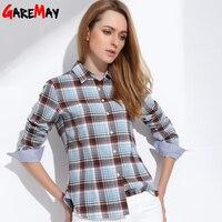2015 Spring Women S Plaid Shirt Blusas Blouses Women Females Fashion 100 Cotton Brushed Casual Shirts