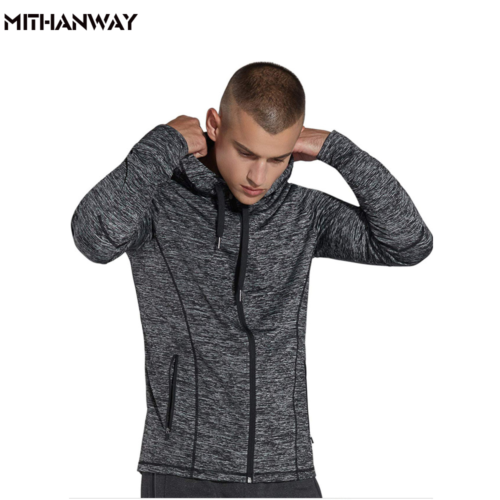Bodybuilding Men Hooded Sport Jacket Windproof Zipper Running Jacket Fitness Long Sleeve Male Gym Jackets faux twinset rib splicing hooded long sleeve slimming modish pu leather jacket for men
