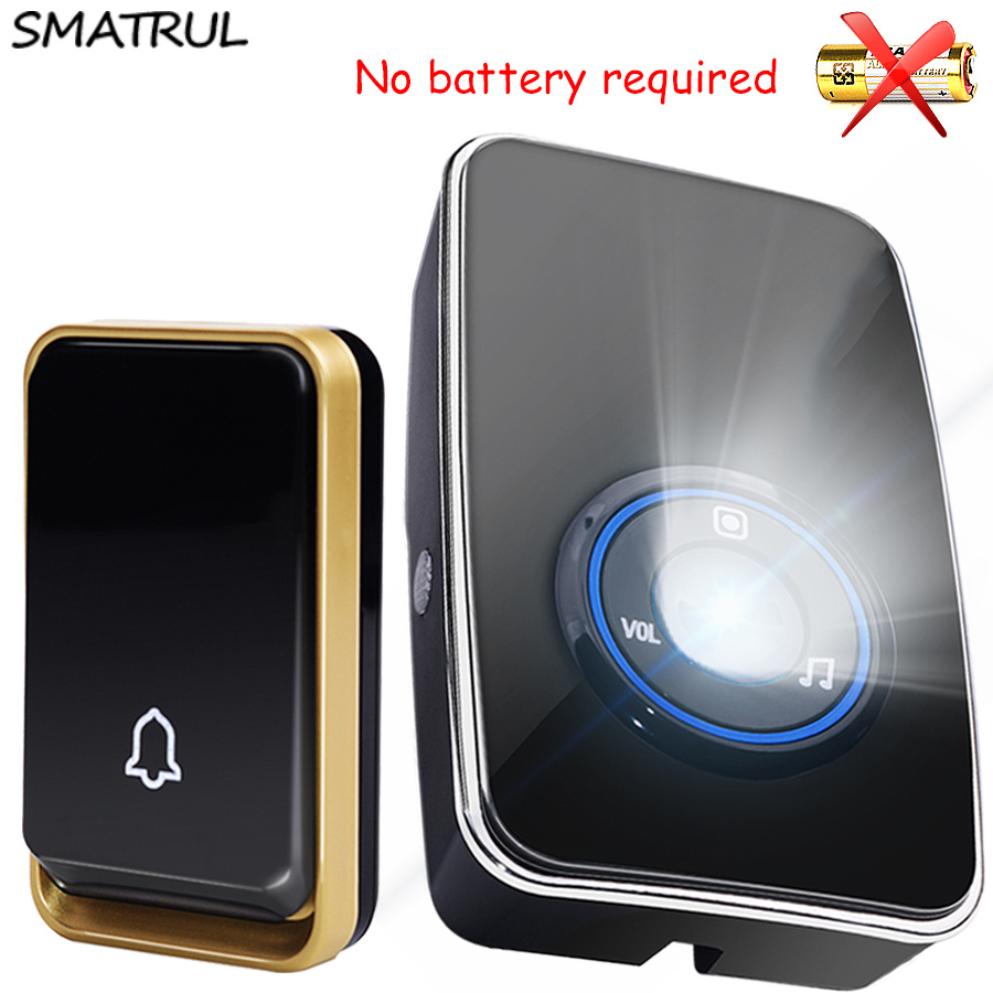 SMATRUL auto alimentado sensor sem bateria Campainha Sem Fio À Prova D' Água luz da noite plug UE inteligente Porta Bell botão 2 1 1 2 receptor