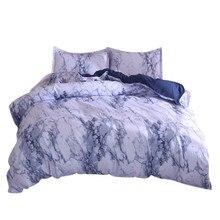 Juego de edredón de cama de mármol simple, funda de edredón doble tamaño King con almohada Cas gran casa calentamiento regalo moderno sueño estrellas
