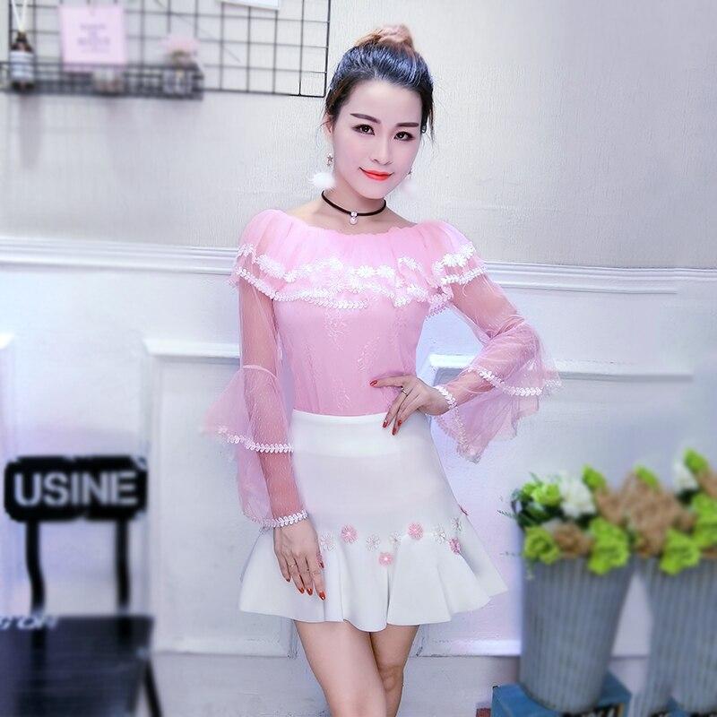 Ruches Chemises noir Doux Tops À Chemise Femmes Pour Dentelle Pink Perspective Flare Bretelles De Longues Patchwork blanc Mesh Manches L'épaule rrwf6