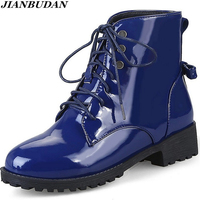 Patent Leather Large Size Martin Boots Women Fall Boots Waterproof Non Slip Winter Warm Boots Snow