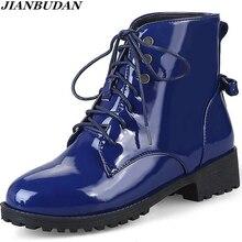 Jianbudanパテントレザー大サイズの女性のブーツ秋の靴防水冬暖かいブーツノンスリップスノーブーツサイズ 35 46