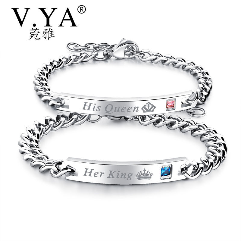 V.Ya Unique Gift for Lover His QueenHer King  Couple Bracelets Stainless Steel Bracelets ...