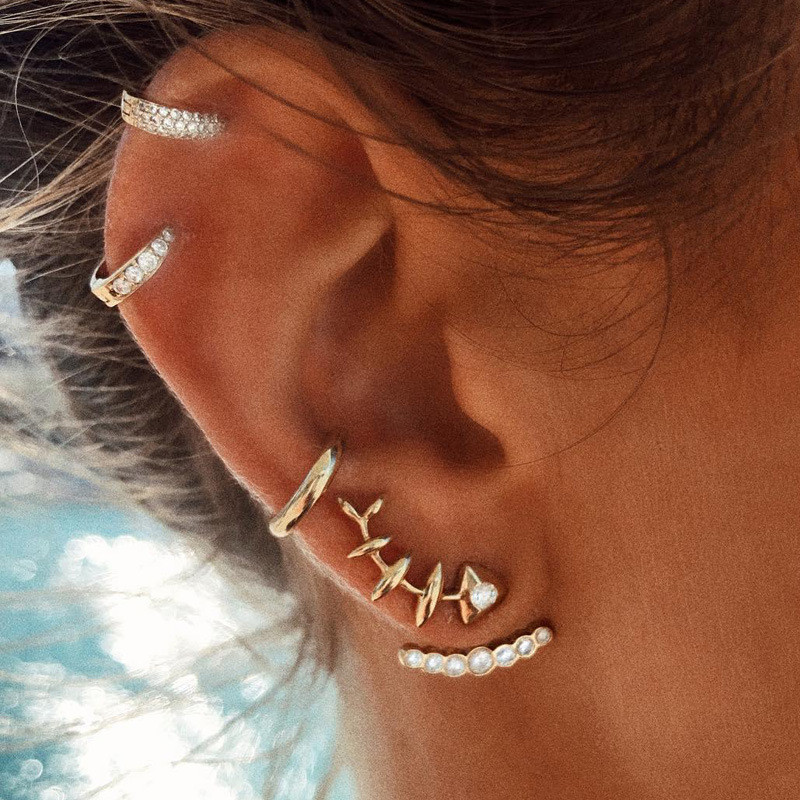 Crazy Feng 4Pcs/lot Punk Fish Bone Stud Earrings Set For Women Fashion Gold Color Crystal Brincos Accessories Ear Clip Jewelry