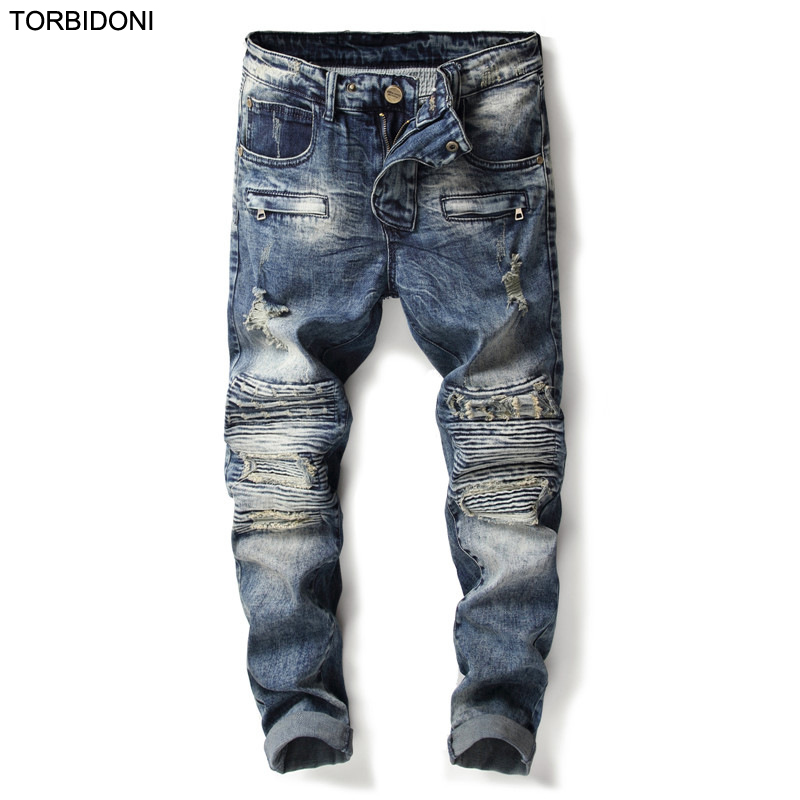 Mens Denim Jeans Little Stretch Fashion Retro Patchwork Slim Fit Hole Jeans For Man Straight Pants Male Denim Trousers Mid Waist