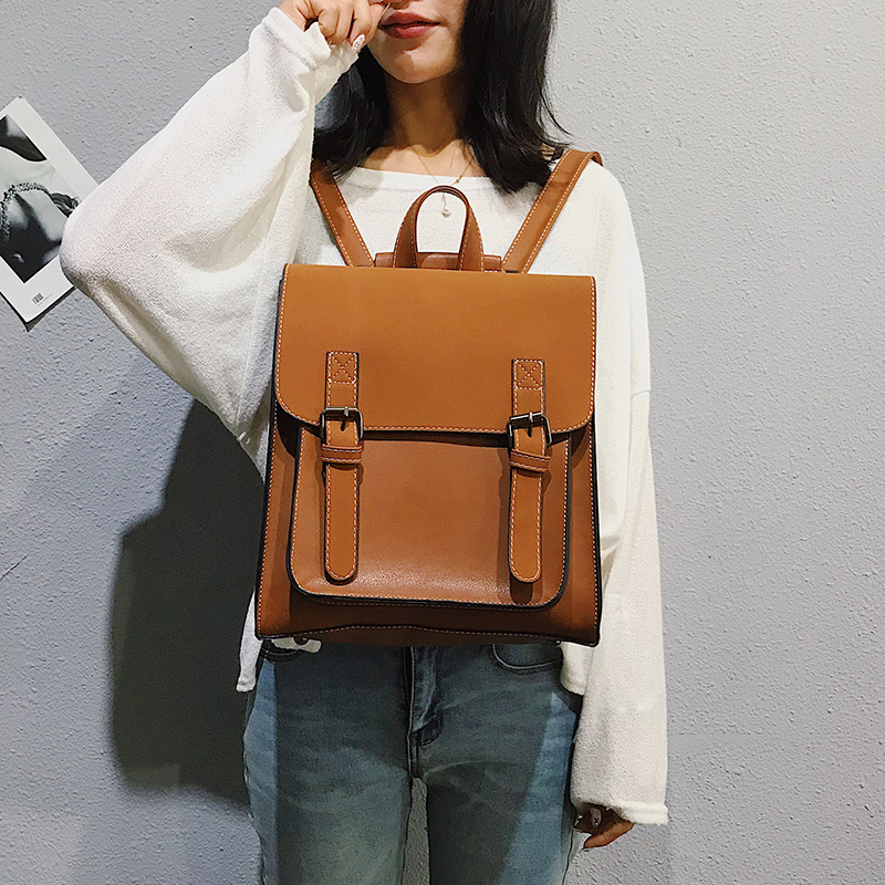 Fashion 2 PCS/SET Leather Women Backpacks for Teenagers female Back Pack Large Capacity Pu Travelling Bags Vintage school bag
