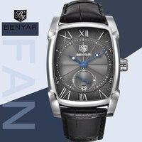 Men Watches BENYAR Brand Luxury Waterproof Genuine Leather Quartz Watch Classic Rectangle Case Auto Date Fashion