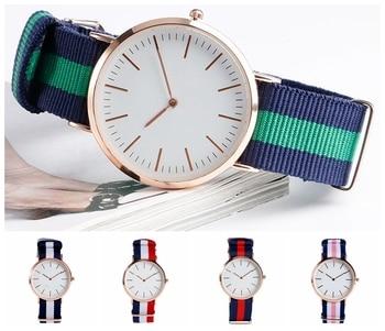 Fashion Wrist Watch 5 Type Stripe Nylon Band Strap Modern Sport Qyartz Clock Korea Style Minimalist Ourdoor Analog Team Gift