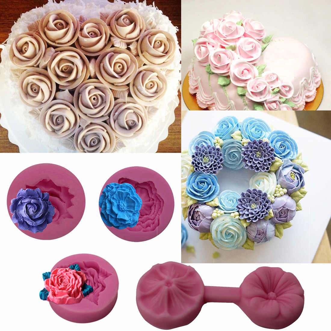 Rose Flower Silicone Mold Sugarcraft Embossed Fondant Cake Decorating Tools Fimo Clay Candy Jelly Chocolate Gumpaste Mold