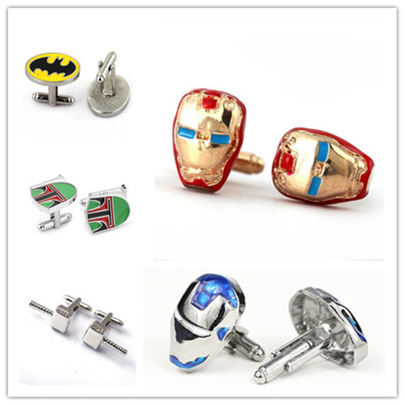 6pairs lot Wholesale The Avengers Cufflinks Metal Thor Hammer Captain America Cuff Buttons Iron Man French Shirt Cuff Links in Tie Clips Cufflinks from Jewelry Accessories