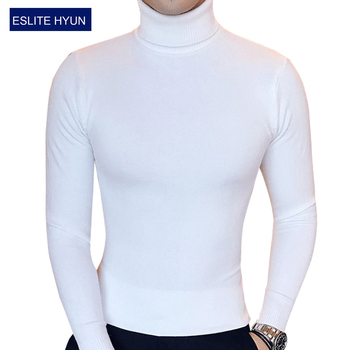 Men's pure light turtleneck sweater long sleeved shirt male winter