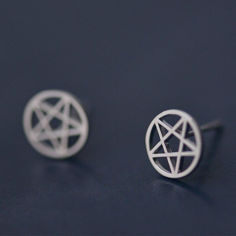 Flyleaf 925 Sterling Silver Earrings Hollow Pentagram Star Stud Earrings For Women Simple Girl Sterling-silver-jewelry