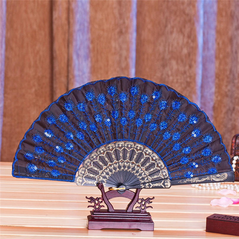 1PC Hand Fans Folding Peacock Pattern Embroidered Sequin Hand Held Chinese Fan Wedding Favors and Gifts abanicos de mano J14#3 (2)