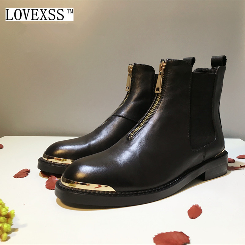LOVEXSS Genuine Leather chelsea Boots 2017 Autumn Winter Full Grain Leather Black Woman Shoes Sequined High Quality Ankle Boots tpms car electronics wireless tire pressure monitoring system with external replaceable battery sensors lcd display careud u903