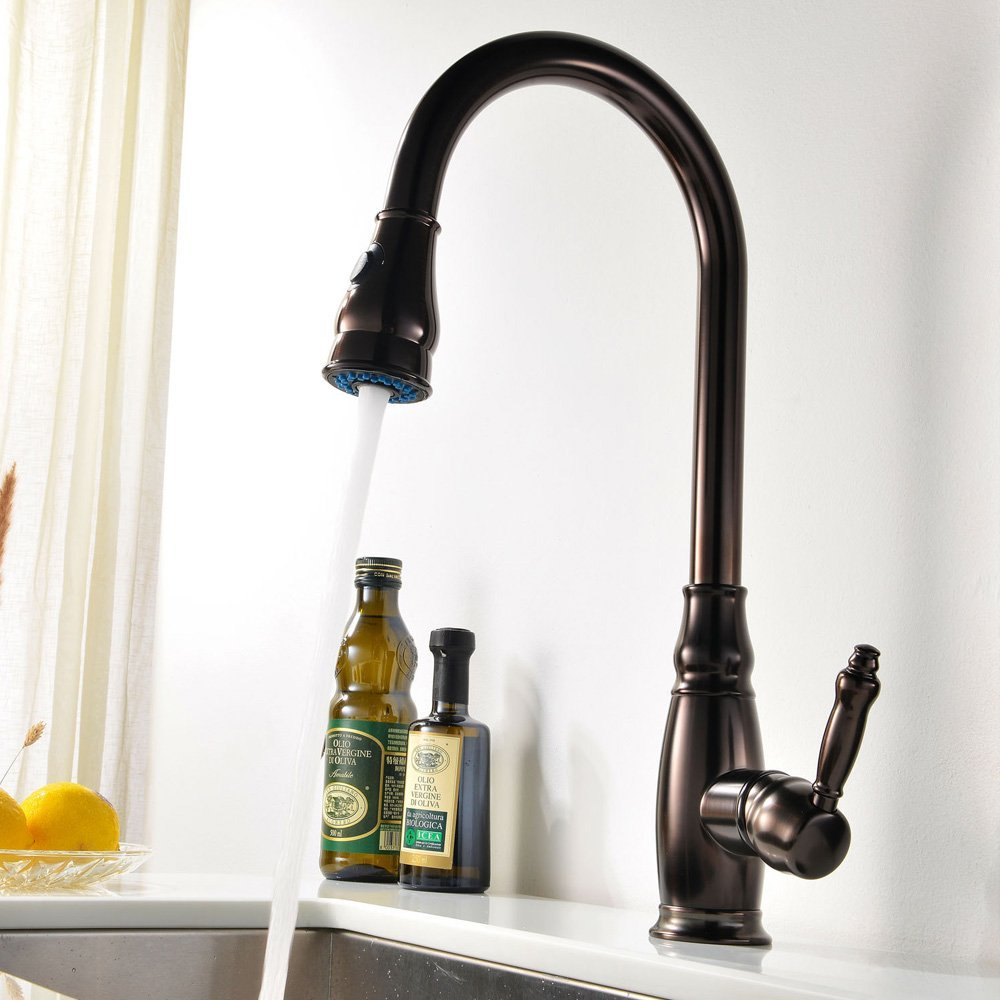 Oil Rubbed Bronze Solid Brass Kitchen Faucet Mixer Tap