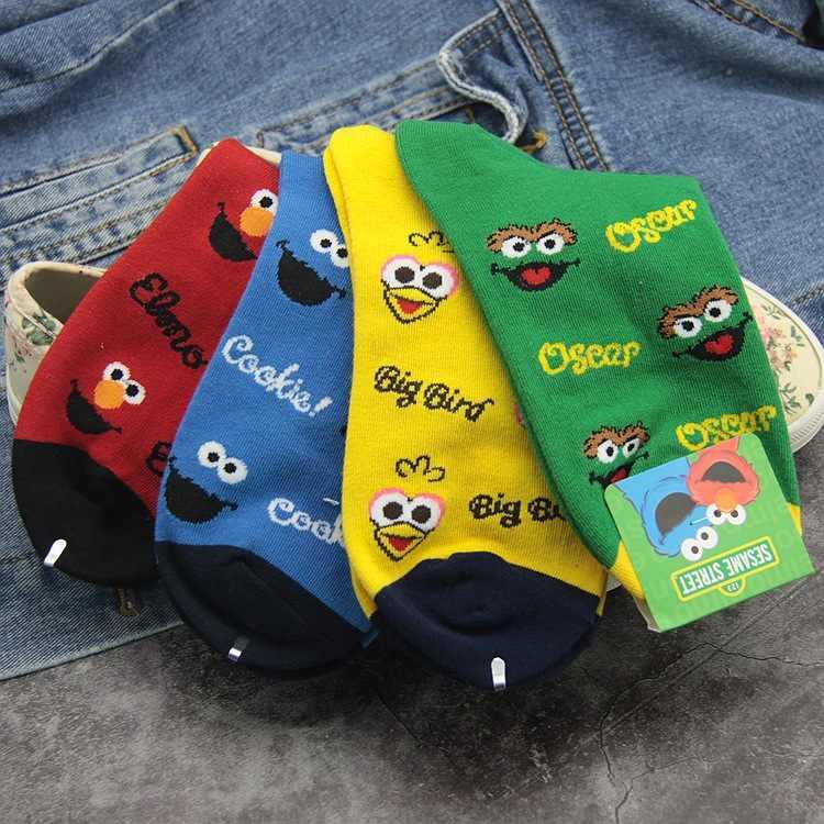 Cartoon Sesame Street Elmo Socks Cookie Monster Big Bird Oscar Funny Cute Printed Women S Sock Autumn Yellow Green Cotton Socks