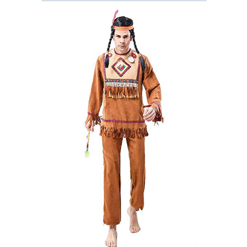 Men Indian Costume Man Native Primitive Tribe Costume Cosplay Outfits Clothing Carnival Party Adult Male  Halloween Costumes