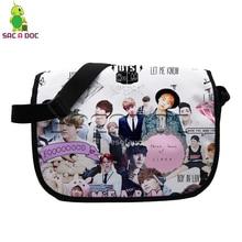 Kpop BTS Collages Messenger Bag Women Men Crossbody Handbag JUNGKOOK SUGA V  School Shoulder Bags for deb51a1c05433