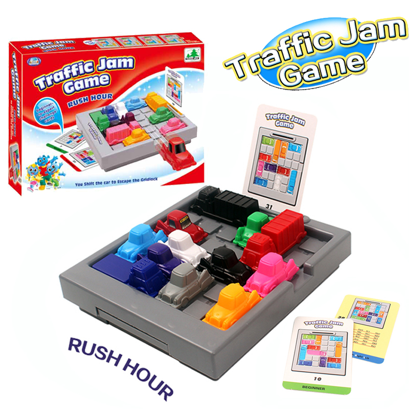 WOWCHEER Traffic Jam Puzzles Game Slide IQ Car Challenges Toys Family Entertainment Board Game Rush Hour Toys For Children cool educational toys dump monkey falling monkeys board game kids birthday gifts family interaction board game toys for children