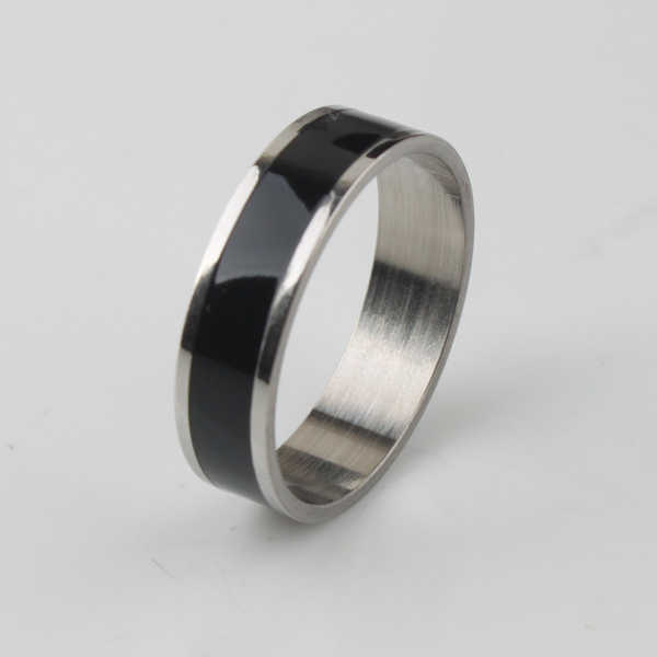 free shipping Wide 5mm black stripe rings 316L Stainless Steel men finger ring  wholesale lots