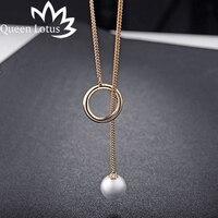 Königin Lotus 2017 neue Mode Vertraglich Kreis Perle Einstellbarer frauen Kette Grüne Legierung Lange damen Halskette Geschenk halsband Mädchen