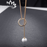 Queen Lotus 2017 New Fashion Contracted Circle Pearl Adjustable Women Chain Green Alloy Long Ladies Necklace