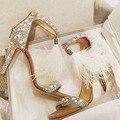 Mulheres Sandálias Sapatos de Casamento Branco Avestruz Cabelo T Strap Cristal de Salto Alto sapatos de Mulher
