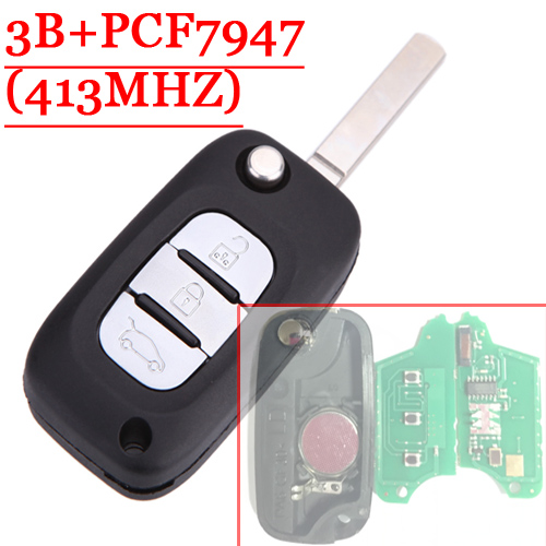 Free shipping (1piece)3 Button Remote Flip Key With PCF7947 Chip 433MHZ For Renault Clio free shipping 2 button remote flip key with pcf7947 chip 433mhz for renault clio 1piece