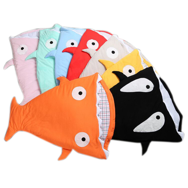 Newborn Shark Sleeping Bag For Winter Stroller Bed Swaddle Blanket Wrap Cute Cartoon Bedding Sleeping Bags