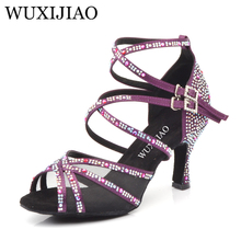 WUXIJIAO Black Purple Bronze Dance Dance Women Women Full Rhinestone Woman Salsa Dance Shoes Latin Salsa Shoes Adult Shoes Heel