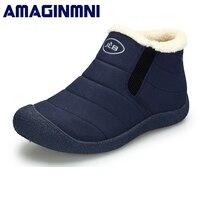 AMAGINMNI נעלי חורף גברים לשני המינים זוג מגפי שלג פרווה חמה בפנים תחתון החלקה לשמור מזדמנים חם מגפי גברים מגפיים עמיד למים