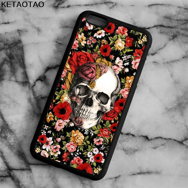 KETAOTAO Flowers Crystal Skull Hea Phone Cases for iPhone 4 5S 6 6S 7 8 X PLUS for Samsung S8 NOTE Case Soft TPU Rubber Silicone