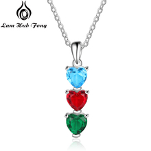 Personalized Necklaces for Women Love Heart CZ Custom Birthstone Pendant Necklaces Charm Jewelry Gift for Mother (Lam Hub Fong) women gold necklaces custom name engraving necklace love heart collar birthstone chain jewelery christmas day gift for mother
