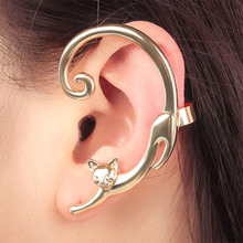 1pcs New Punk Style Simple Cute Cat Earrings With Ear Cuff Rock Animal Stud For Women 2019 Jewelry Gift Wholesale WD326