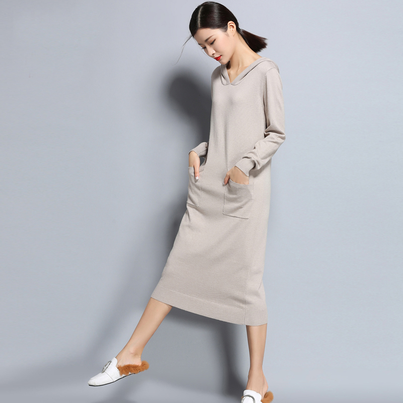 Autumn and Winter Pullover of Wool Knit Dress Ladies Solid Color Long Sleeve Large Size Hooded