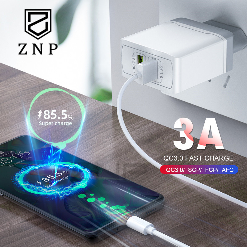 ZNP Adapter Usb-Charger Mobile-Phone Wall Qc-3.0 Xiaomi Samsung 2 Travel For EU 28W Dual