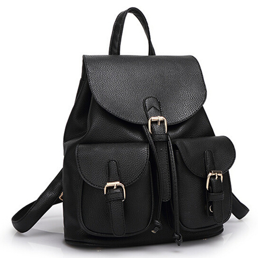 New Women Leather Backpack Black Bolsas Mochila Feminina Large Girl Schoolbag Travel Bag Solid Candy Color Green Pink Beige dida bear women leather backpacks bolsas mochila feminina girls large schoolbags travel bag sac a dos black pink solid patchwork